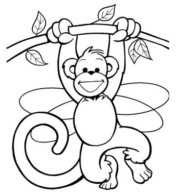 monkey in a tree - Monkey Coloring Page