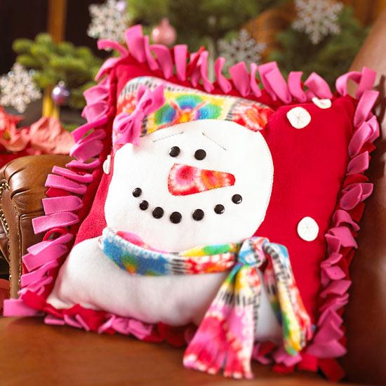 Make a Fleece Snow Lady Pillow for Christmas