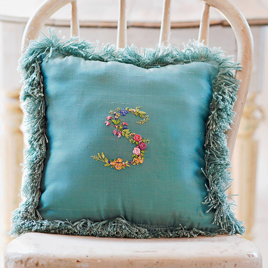 Monogram Ribbon Embroidery Pillow