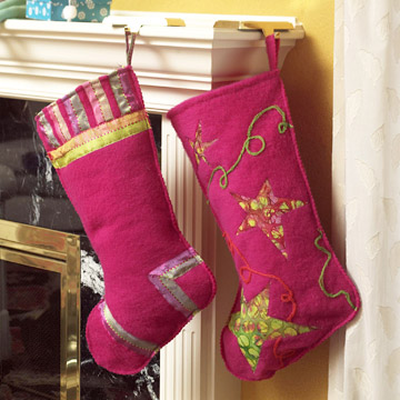 Make a Colorful Christmas Stocking with Felt Fleece and Batik Fabric