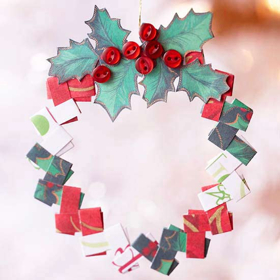Folded Paper Wreath Christmas Tree Ornament