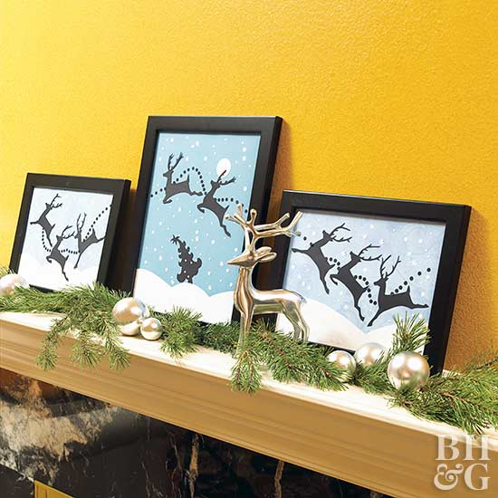 Reindeer Frames on a Christmas Mantel