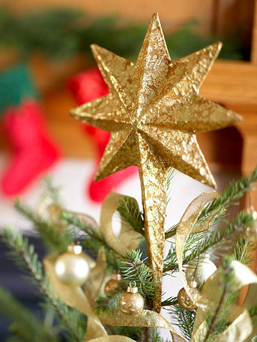 Sparkling Gold Star-Shape Christmas Tree Topper
