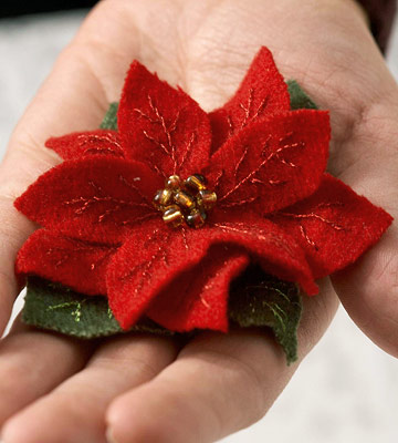 Make a Felted Wool Poinsettia Pin for Christmas