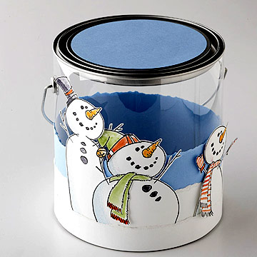 Craft a Snowman Bucket with a Rubber Stamp and Card Stock