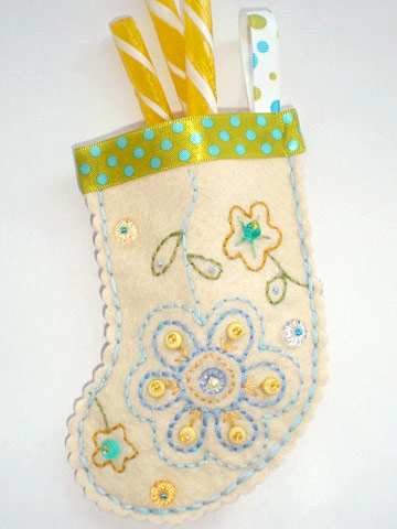 Make an Embroidered Miniature Christmas Stocking Out of Felted Wool