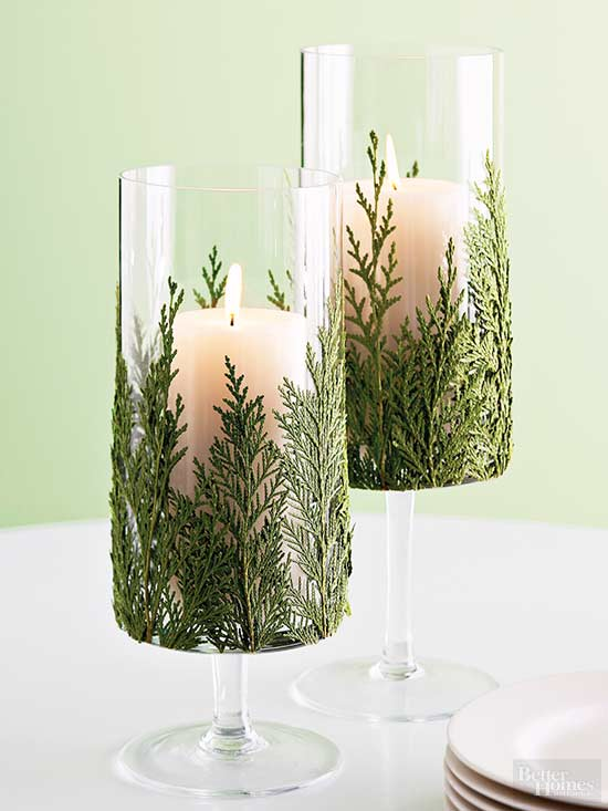 single candle centerpiece with balsam fir how to make