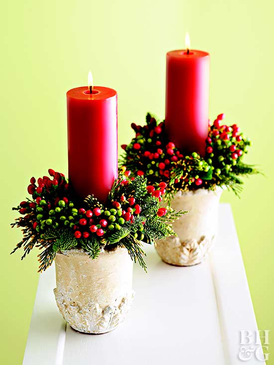 Crafty christmas candle displays for Christmas craft table decorations