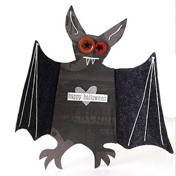 Folded-Wings Bat Halloween Card