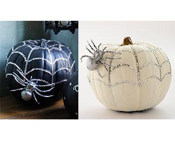 Halloween Pumpkin with Rhinestones & Spider