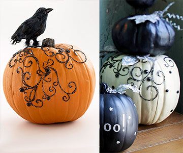 Glamorous Halloween Pumpkin with Black Rhinestones
