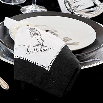 Black-and-White Halloween Cloth Napkins