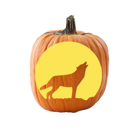 Free pumpkin stencils for halloween howling wolf pumpkin stencil sciox Choice Image