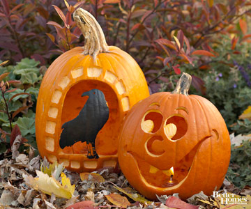 Carved Halloween Pumpkin with Crow