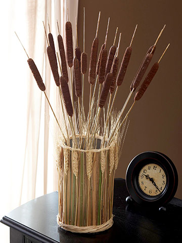 Make a Cattail Vase for Fall Decorating