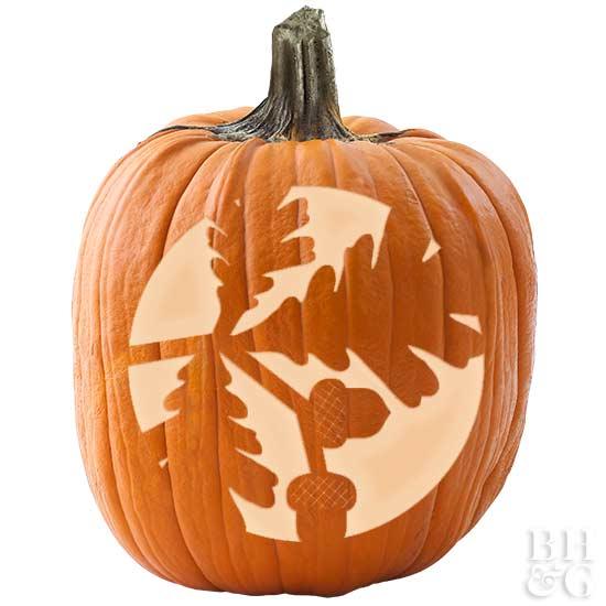 Oak Leaves & Acorns Pumpkin Stencil