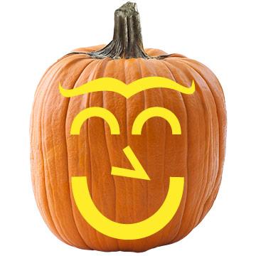 Cheerful Face Pumpkin Stencil