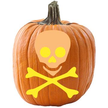 Skull-and-Crossbones Pumpkin Stencil