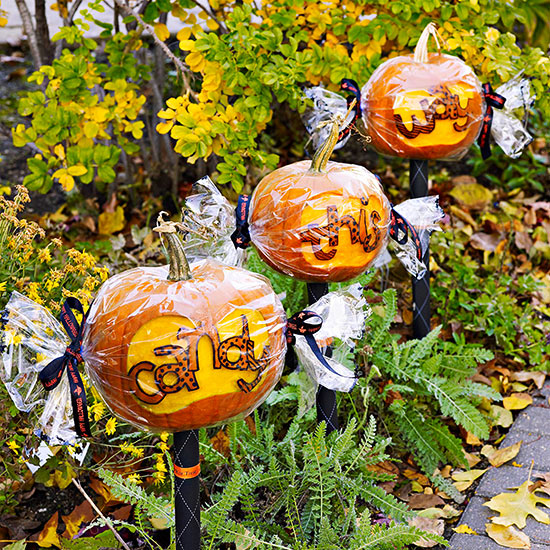 Trio of Candy-Wrapped Halloween Pumpkins