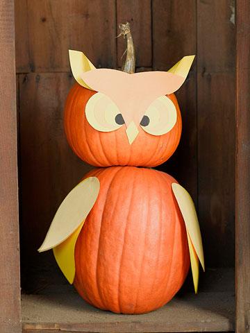 No-Carve Owl Pumpkin for Halloween