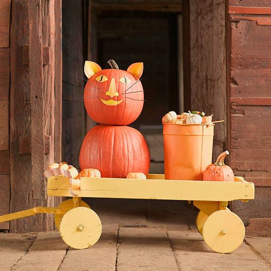 No-Carve Cat Pumpkin for Halloween