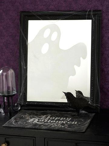 Ghost in the Mirror Halloween Craft