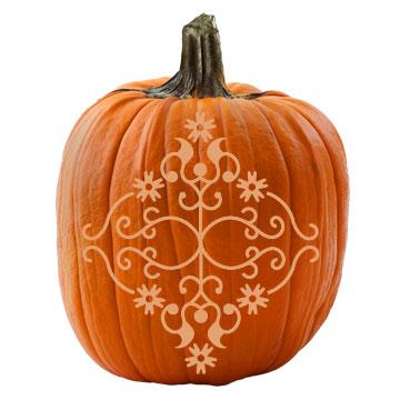 Victorian Damask Pumpkin Stencil