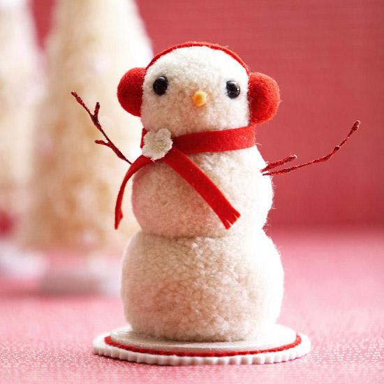 Pom-Pom Snowman Figurine