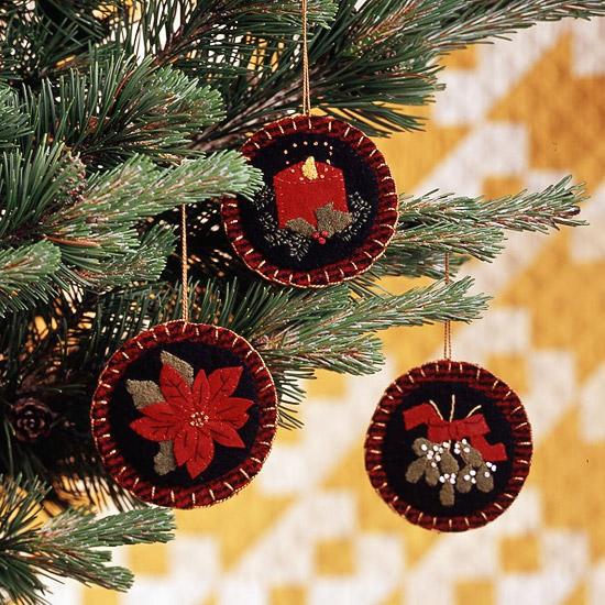 Felt Christmas Ornament with Classic Designs