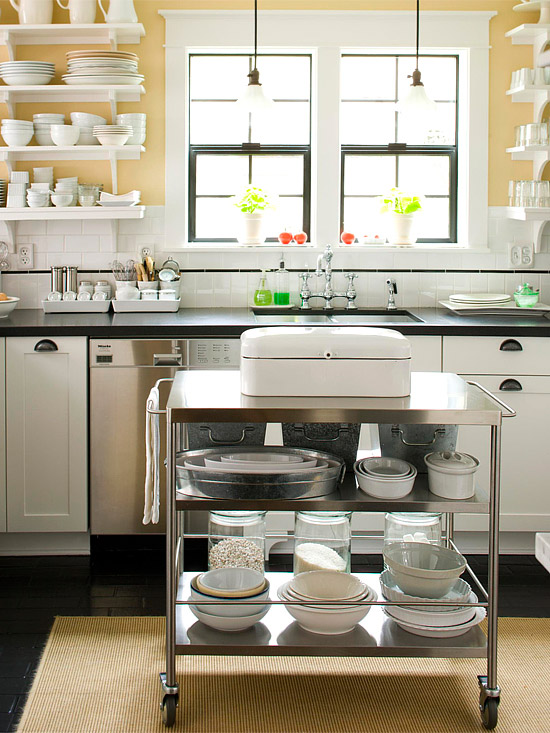 kitchen space ideas.  Storage for Small Spaces