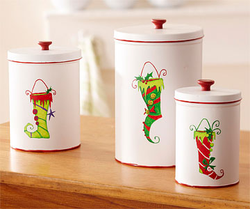 Painted Christmas Treat Canisters