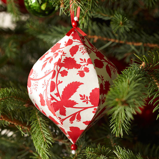 Decorated Papier Mache Christmas Ornament