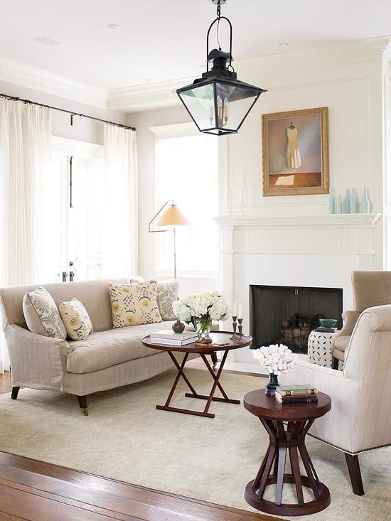 Living Room With Chandelier