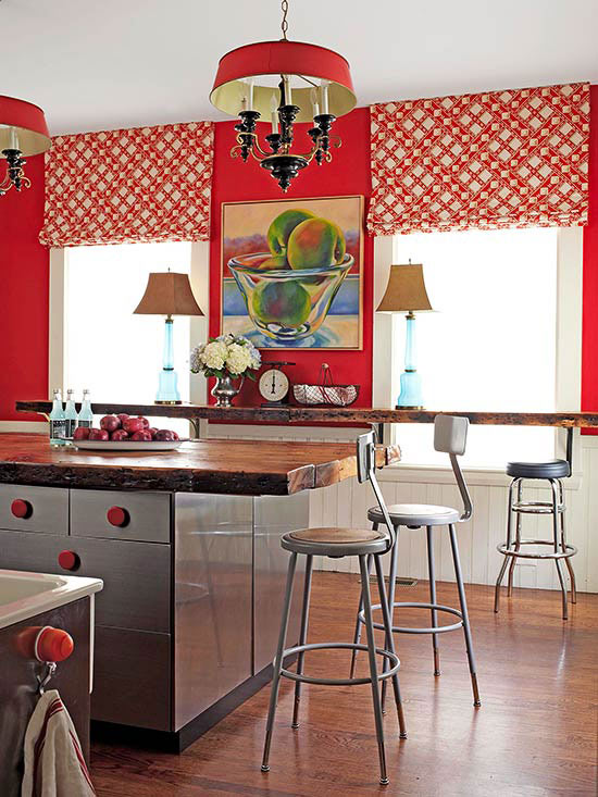 Fiery red paint on kitchen walls sets an informal tone bursting with bold  personality. Red is a perfect choice for a kitchen, as it's an energetic  color ...