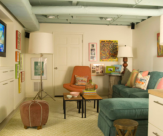 Before and after drab to dapper basement makeover for Basement living room paint ideas