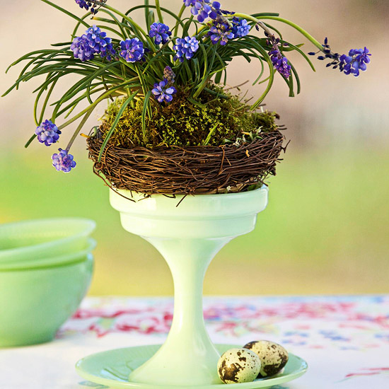 Footed Dish with Grape Hyacinths