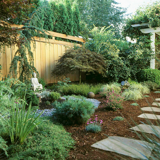 Landscaping ideas for the front yard for Easy care shrubs front house