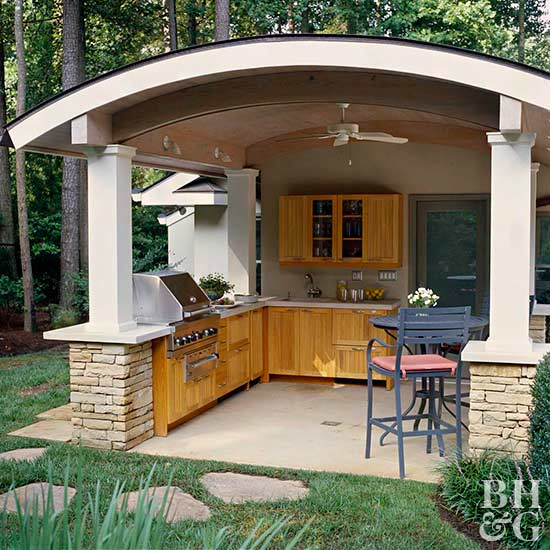 Outdoor kitchens in the landscape for Outdoor kitchen roof structures