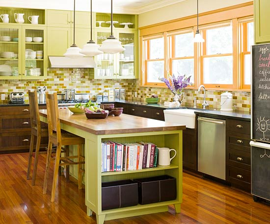 Awesome Kitchen In Greens And Golds Good Looking