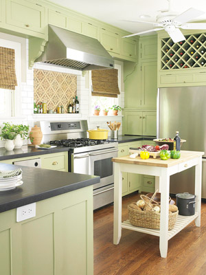 depending on their shade and finish green kitchen cabinets dramatically advance as focal points or quietly retreat to let other fittings shine - Green Kitchen Cabinets