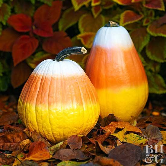 Candy Corn Painted Pumpkins