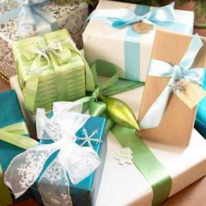 How to wrap christmas presents from better homes gardens once the christmas present is wrapped its time to make it look pretty dress up the present with a beautiful bow made from ribbon that complements the negle Gallery