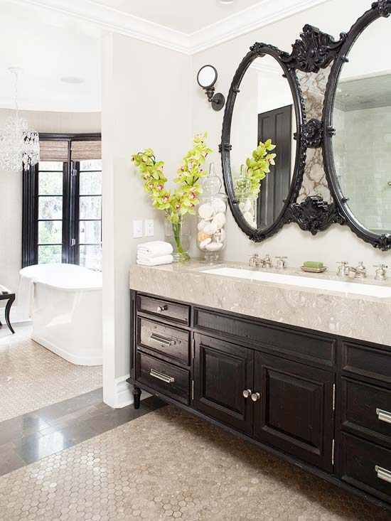 Ceramic hard bodied tile better homes and gardens for Long bathroom vanity