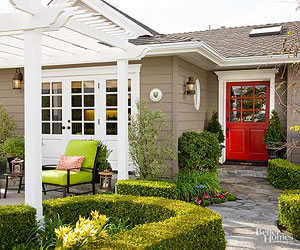 Red Front Doors. TIP  If you have a few samples of red that re trying to choose from try them out on the front door paint swatches inches apart as well close Red Front Doors