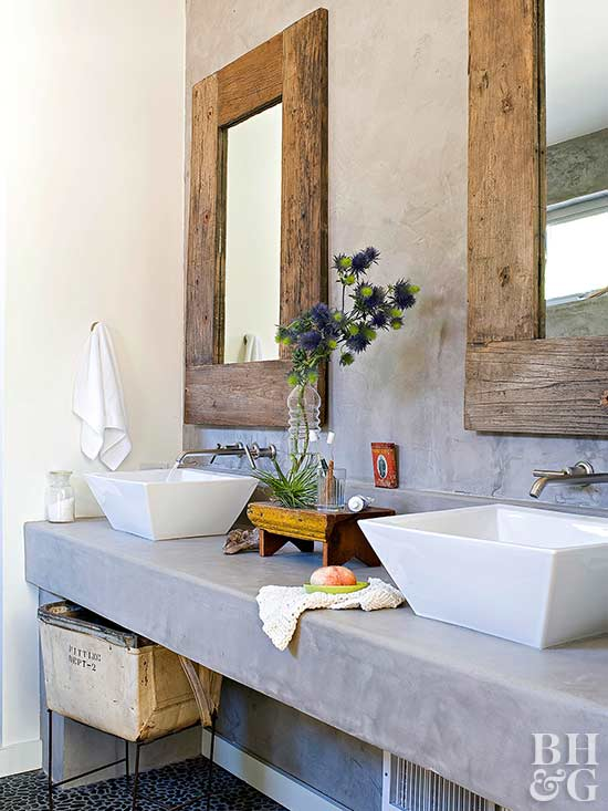 modern double vanity with vessel sinks and rustic mirrors - Contemporary Bathrooms Ideas