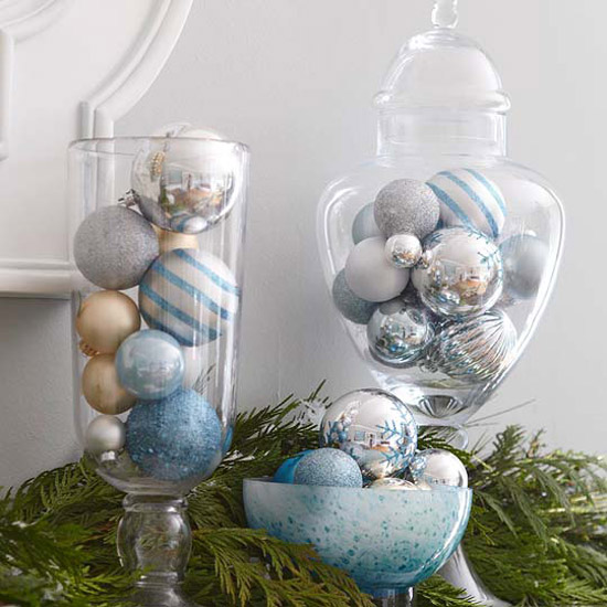 Ornaments in Glass Dishes