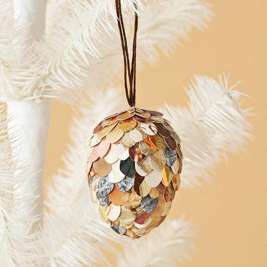 Paper Pincone Christmas Ornament
