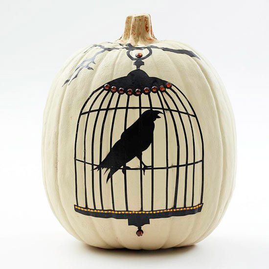 Crow in a Cage and Jack-o'-Lantern Pumpkin Stencils