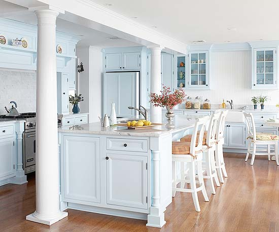 Powder Baby Robins Egg And Grayish Blue Hues Emit Soothing Rhythms That Nicely Suit Cottage Country Classic Kitchen Designs