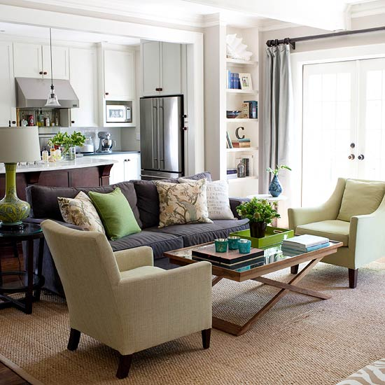 living room with brown sofa. This cooler neutral space would look bland without the comfy brown couch to  warm things up Green that leans more yellow is seen on tray pillow Ways Decorate with a Brown Sofa
